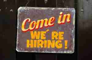 """come in we're hiring!"", find a job, career hunt,"