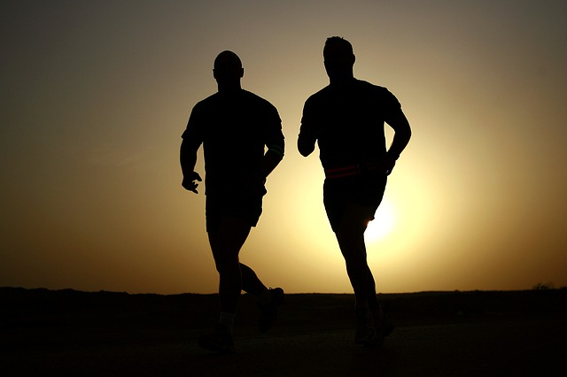men running, sunrise, desert